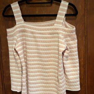 Tops - NWOT Cute pink and white striped cold shoulder top